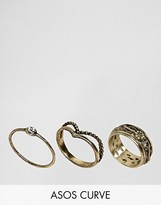 Asos Exclusive Pack of 3 Festival Floral Ring Pack