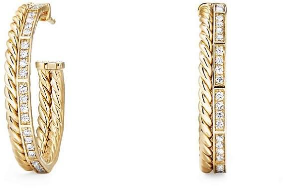 David Yurman Stax Hoop Earrings with Diamonds in 18K Gold