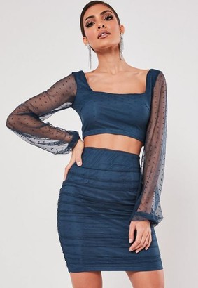 Missguided Petite Blue Co Ord Dobby Mesh Crop Top
