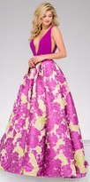 Jovani Vibrant Plunging Neckline Floral Print Ball Gown