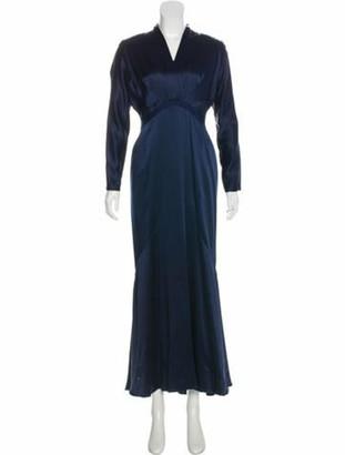 Reem Acra Satin Evening Gown Navy