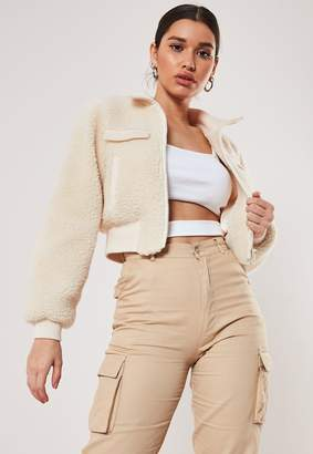Missguided Cream Cropped Borg Teddy Bomber Jacket