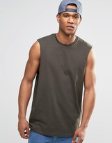 Asos Oversized Sleeveless T-shirt With Raw Edge Armhole In Khaki