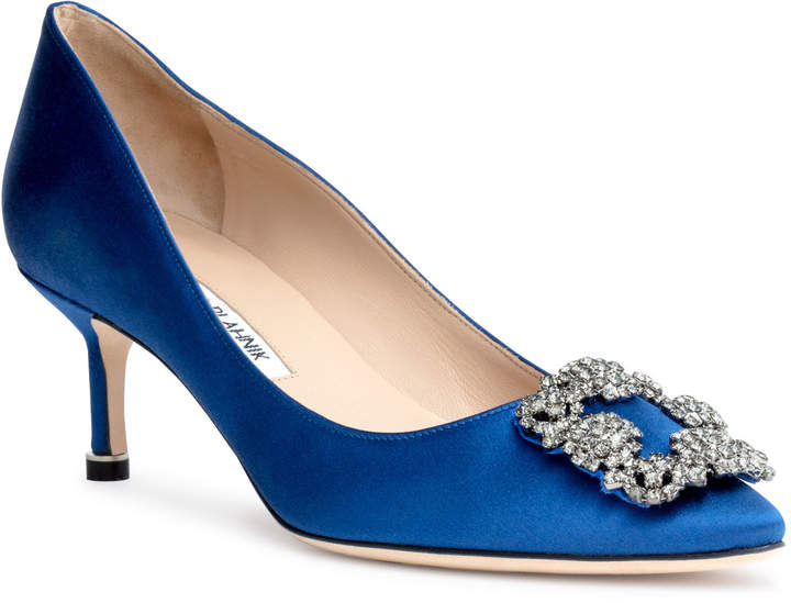 Manolo Blahnik Hangisi 50 Royal Blue satin pump