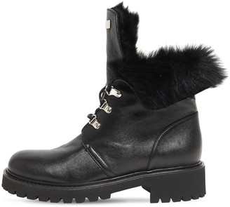 Giuseppe Zanotti 30mm Leather & Faux Fur Ankle Boots