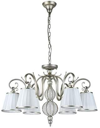 Maytoni Elegant Classic Chandelier Ceiling Lamp Bronze Metal Frame with Crystal Beads White Fabric Shades excl. 6 Bulbs x E14 40W