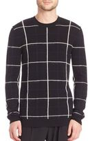 McQ by Alexander McQueen Brush Stripe Grid Wool & Mohair Blend Sweater