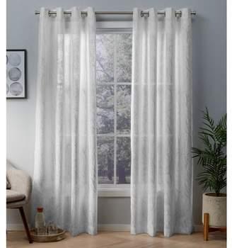 Exclusive Home Woodland Printed Metallic Branch Textured Linen Sheer Grommet Top Window Curtain Panel Pair