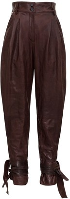 Dolce & Gabbana Strapped Ankle Leather Trousers