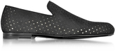Jimmy Choo Sloane Black Star Perforated Dry Suede Loafer
