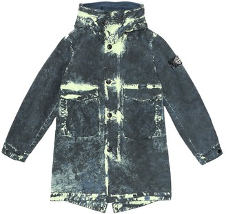 Stone Island Junior Acid-wash cotton canvas parka