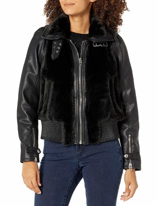 Blank NYC Womens Black with Vegan Leather Sleeves Faux Fur Jacket