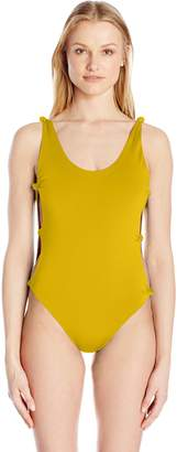 Red Carter Women's Indian Summer Reversible Solid Open-Side One Piece Swimsuit Mustard Pink XS