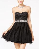 City Studios Juniors Strapless Lace A-Line Dress