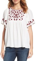 Lucky Brand Women's Hannah Embroidered Peasant Top
