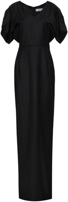 Chalayan Gathered Pinstriped Felt Gown