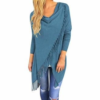 VJGOAL Womens Autumn New Shawl Tops Knitted Fringed Pullover Waterfall Cardigan Poncho Cape Coat Shirt Slash Gradient Shawl Hem Fringe Blouse Hoodie(XX-Large