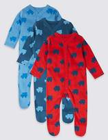Marks and Spencer 3 Pack Car Print Pure Cotton Sleepsuits