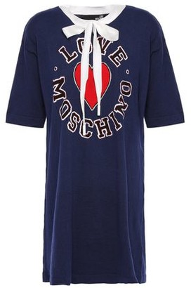 Love Moschino Pussy-bow Intarsia Cotton And Cashmere-blend Mini Dress