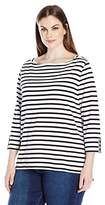 Rafaella Women's Petite Size Boatneck Stripe Tee with Trim Details