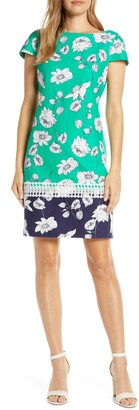 Brinker & Eliza Floral Print Stretch Cotton Shift Dress