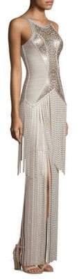 Herve Leger Foil& Fringe Bandage Gown
