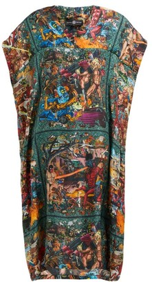 Edward Crutchley Tapestry Print Silk Dress - Womens - Brown Multi