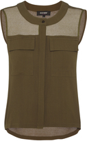 Oxford Mia Sheer Trim Top Khaki X