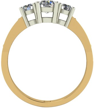 Moissanite Lady Lynsey 9ct Gold 1ct total Round Brilliant Trilogy Ring With Stone Set Shoulders
