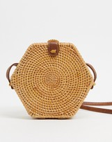 Asos Design DESIGN hexagon straw cross body bag