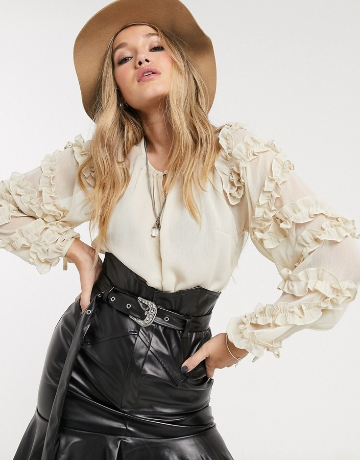Topshop blouse with ruffle sleeves in cream
