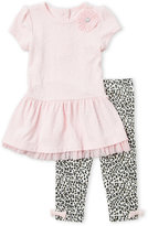 Little Me Infant Girls) Two-Piece Textured Knit Peplum Tunic & Printed Leggings Set