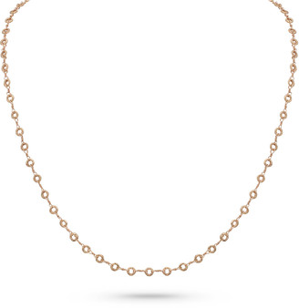 """Dominique Cohen 18k Rose Gold Carved Ring Delicate Chain Necklace, 22""""L"""