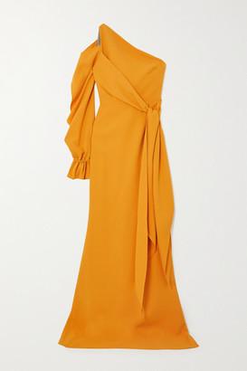 Roland Mouret Santorini One-sleeve Asymmetric Crepe Gown - Saffron