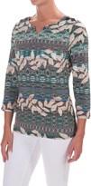 Caribbean Joe Sweetheart Leaf Geo Shirt - 3/4 Sleeve (For Women)