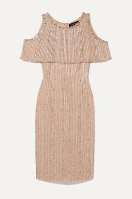 Jenny Packham Cold-shoulder Embellished Chiffon Dress - Gold
