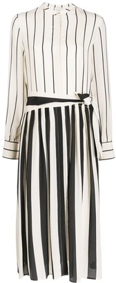 Alysi Striped Silk Shirt Dress