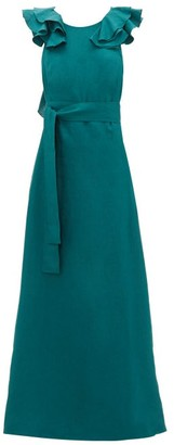 Kalita Eros Shoulder-ruffle Linen Maxidress - Womens - Dark Green