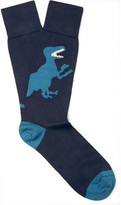 Paul Smith Dinosaur Stretch Cotton-blend Socks - Navy