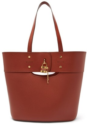 Chloé Aby Large Grained-leather Tote - Dark Brown