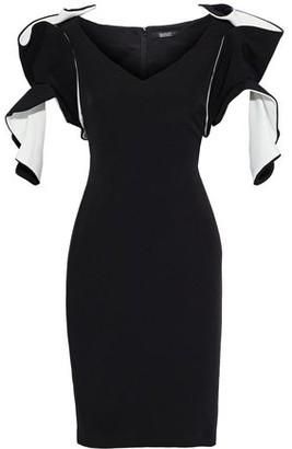 Badgley Mischka Ruffled Two-tone Stretch-cady Dress