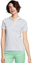 Classic Women's Tall Pima Polo Shirt-Celestial Blue/White Print