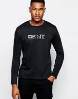 Dkny Crew Long Sleeve Rubber Print T-shirt - Black