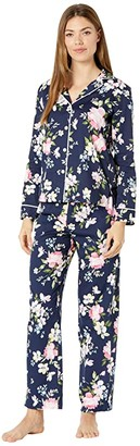 Lauren Ralph Lauren Classic Woven Long Sleeve Pointed Notch Collar Long Pants Pajama Set (Navy Print) Women's Pajama Sets