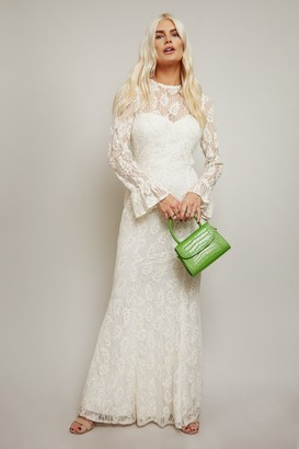 Little Mistress Aurora White Velvet Lace Fishtail Maxi Dress