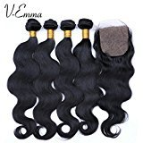V-Emma 4 Bundles with silk Closure 100% 8a Unprocessed Virgin Peruvian Hair Body Wave with silk Closure Human Hair Extensions Bundles with 3 part silk Closure 14x16x18x18+14