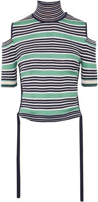 Fendi Cold-shoulder Striped Silk-blend Top