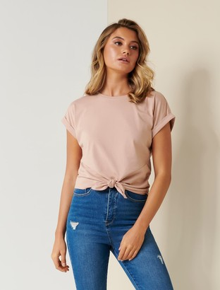 Forever New Nellie Tie-Front Tee - Nougat Brown - l