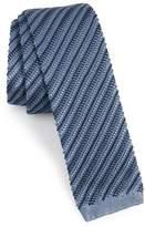 Brioni Stripe Knit Silk Skinny Tie