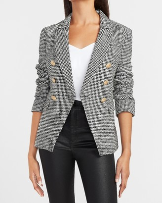 Express Houndstooth Novelty Button Double Breasted Blazer
